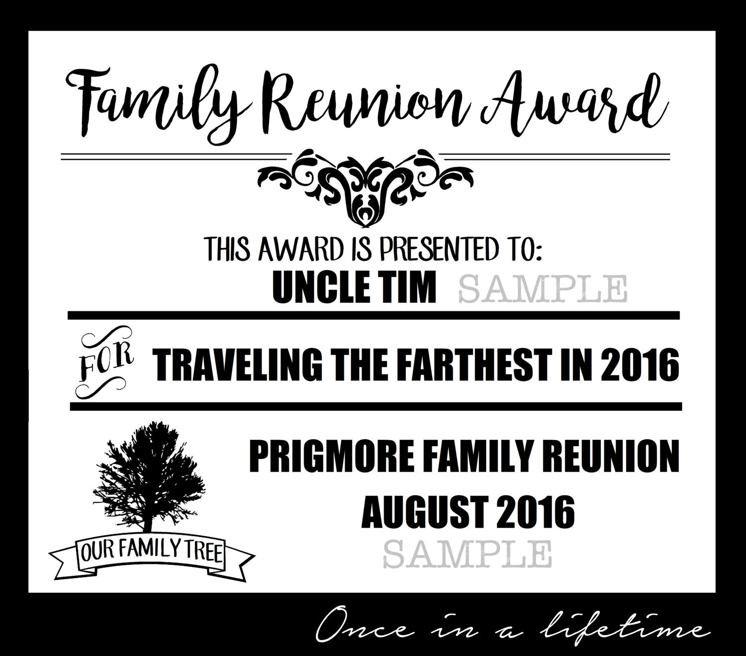Digital Family Reunion Award Pdf Files Editable Instant Etsy