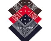 Brown, Red, Navy Blue - Pack of 3 x 100 Cotton Bandana Scarf Facemask cover - Free UK Delivery, Same day dispatch, UK Seller