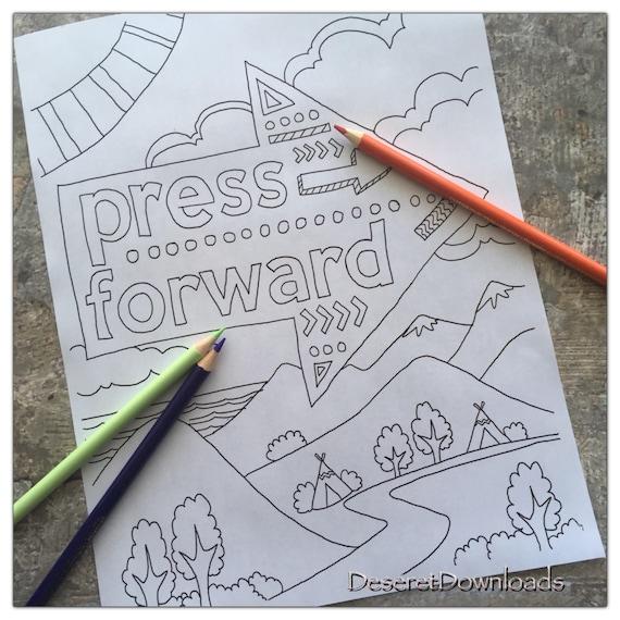 DIGITAL Instant Download LDS Press Forward Art Color Page