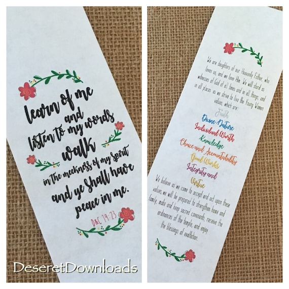 DIGITAL Youth Theme 2018 Lds Learn of Me Scripture Bookmark and Young  Womens Theme Bookmark Print back to back doublesided Mutual
