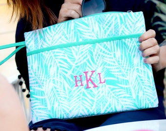 Monogram Weistlett, Monogram Zipper Pouch, Personalized Cosmetic Case