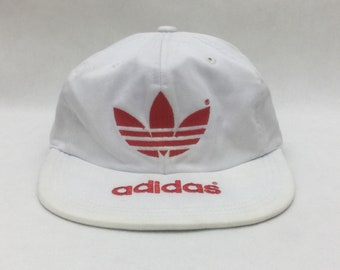 3ce50ffea20 Vintage ADIDAS Trefoil Big Logo Embroidered White Snapback Cap Sz L Made in  Japan