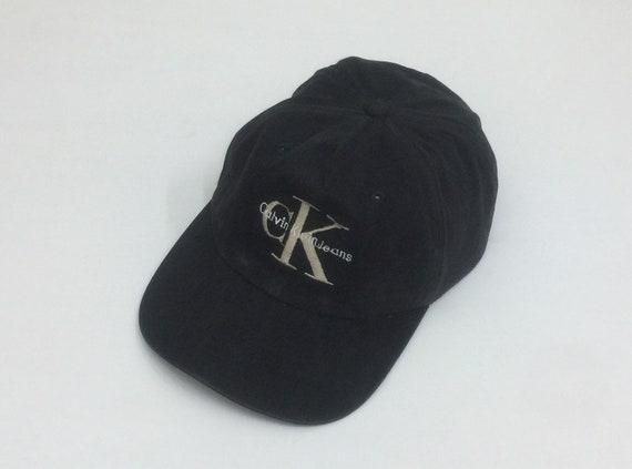 bd43f13cad0 Vtg 90  CALVIN KLEIN JEANS cK Big Logo Embroidered Black