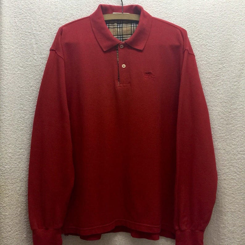 956a8a32 Vintage BURBERRYS Plaid Long Sleeve Red Polo Shirt Sz Large | Etsy