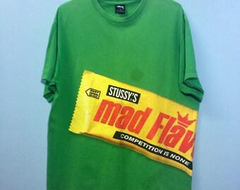 Vintage STUSSY Mad Flavor Street Wear Green TShirt Sz Large