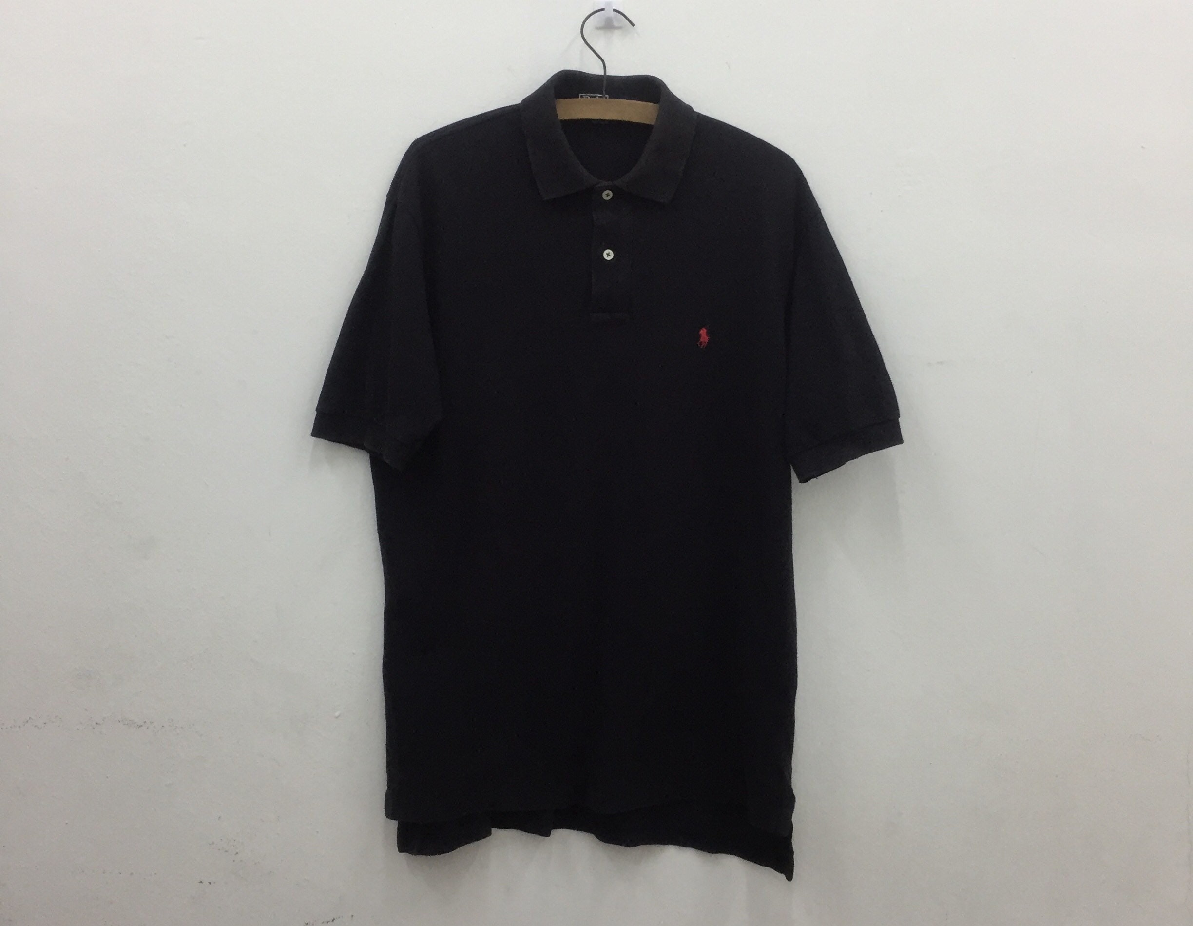 98ba6126 Vintage 90' POLO By RALPH LAUREN Black Collered Polo Shirt   Etsy