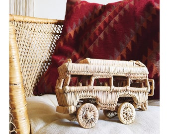 Vintage Wicker VW Bus, Eco Friendly Kid Toy, Boy's Gender Neutral Nursery Decor, Collectible Rare Vintage Volkswagen Classic Bus, Photo Prop