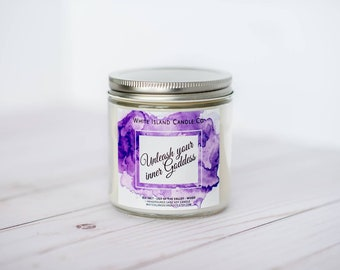 Unleash your inner goddess,Soy Wood Wick Candle,Positive Affirmation, Valentine's,Galentine's Day,BFF gift, Women's History Month