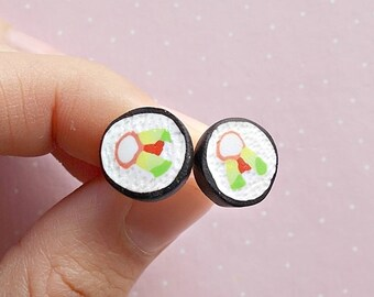 Sushi Earrings - Sushi Jewelry - Sushi Studs - Sushi Lover Gift - Food Earrings - Japanese Food Earrings -