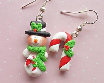 Christmas Earrings - Dangle Earrings - Snowman Earrings - Candy Earrings - Red Green Earrings - Novelty Earrings - Christmas Gift