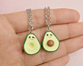 Avocado Best Friend Necklace Set for 2 - BFF Friendship Couple Necklace - Avocado Necklace - Friendship Gift