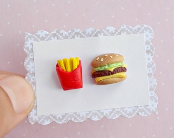 Food Earrings - Fries and Cheeseburger Stud Earrings - Fast Food Jewelry - Foodie Gift Idea