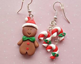 Gingerbread Man  Earrings - Candy Cane Erarings - Christmas Gift - Secret Santa Gift Ideas - Christmas Dangle Earrings - Gift for Girlfriend