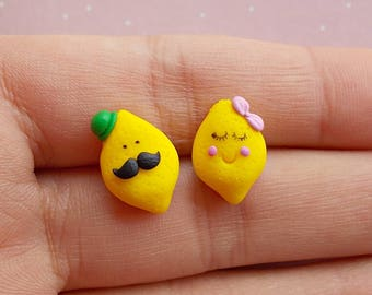 Lemon Earrings - Lemon Stud Earrings - Lemon Gifts - Citrus Earrings - Fruit Earrings - Funny Lemon Earrings -