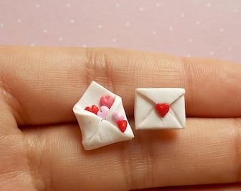 Cute Heart Earrings - Love Letter Earrings - Children Earrings - Valentine's Day Earrings
