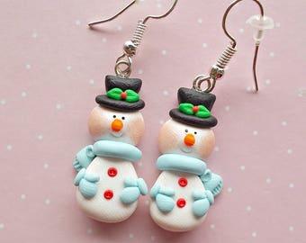 Snowman Earrings - Christmas Stocking - Christmas Gifts - Secret Santa Gift - Blue Earrings - Girls Earrings