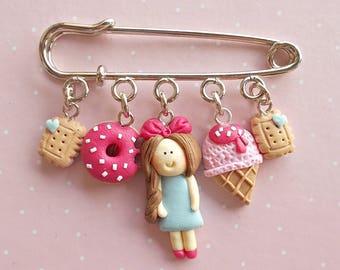 Food Pin - Kawaii Pins - Donut Jewelry - Donut Brooch - Gift for Donut Lover - Miniature Food Jewelry