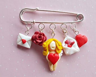 Valentine's Brooch - Valentines Pin - Cupid Brooch - Heart Pin - Valentine's Day Gifts -