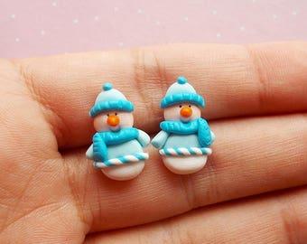 Snowman Earrings, Snowman Studs, Christmas Theme, Christmas Earrings, Xmas Jewellery, Winter Earrings, Seasonal Jewellery, Stocking Filler