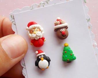 Christmas Earrings - Santa Earrings - Christmas Jewelry - Stud Earrings - Xmas Jewellery - Funny Christmas Gift