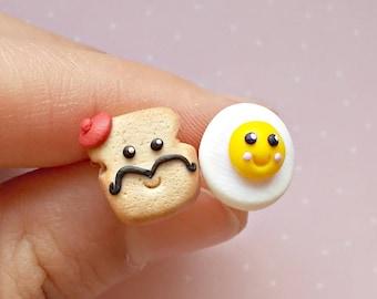 Food Earrings - Kawaii Earrings - Toast and Egg Earrings - Food Studs - Breakfast Earrings -  Miniature Food Earrings - Food Jewelry