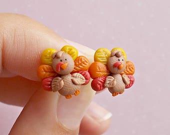 Turkey Earrings - Thanksgiving Earrings - Autumn Gifts Thanksgiving Gift - Kids Earrings - Funny Earrings - Turkey Jewelry