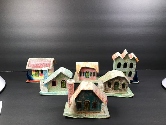 Christmas Village Houses.Putz Christmas Village Houses Cardboard Christmas Houses