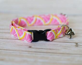 Pink Cat Collar- Lemon Cat Collar- Lemonade Cat Collar- Summer Cat Collar- Girl Cat Collar- Pink And Yellow- Cat Collar- Fashion Cat Collar