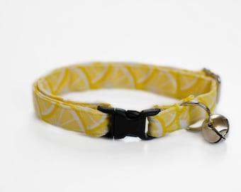 Lemon Cat Collar- Lemonade Cat Collar- Yellow Cat Collar- Summer Cat Collar- Girl Cat Collar- Boy Cat Collar- Cute Kitten Collar- Breakaway