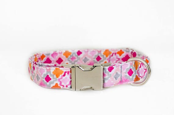 Pink Dog Collar Geometric Dog Collar Girly Dog Collar Etsy