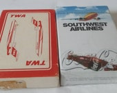 Two decks of airline cards - TWA and Southwest Airlines Coca Cola 1999 sealed cards