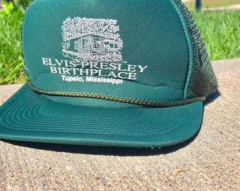 Vintage Elvis Presley Snapback   Green Hat Baseball Cap   Tupelo Mississippi    Forest Green Trucker Hat fa5a67ce825a