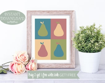 Printable Wall Art, Kitchen Printable, Kitchen Wall Art, Pears Printable, Wall Art, Printable, Kitchen Print, Pears Print, Instant Download