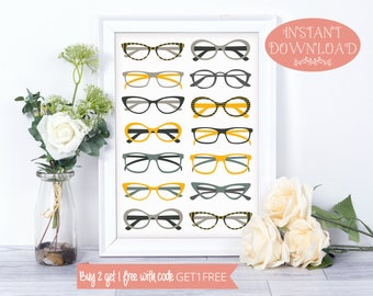 Printable Wall Art, Glasses Wall Art, Wall Art Prints, Glasses Print, Wall Art, Printables, Minimalist Print, Modern Art, Instant Download