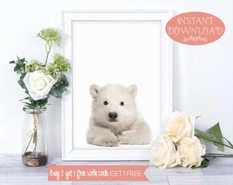Polar Bear Print, Printable Wall Art, Printables, Minimalist Print, Polar Bear Wall Art, Wall Art Prints, Minimalist Art, Prints, Wall Art
