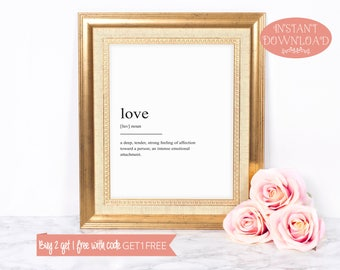Printable Art, Love Definition Print, Wall Art Prints, Quote Print, Minimalist Print, Instant Download, Modern Art, Love Print, Printable
