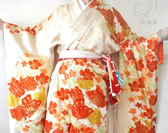 fbee90f9b Japanese furisode silk long kimono robe. Vintage women's long sleeve maxi  kimono gown. Authentic cream white floral butterfly duster coat