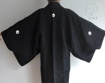 d9b26cdb41 Japanese men's silk kimono jacket, vintage black haori coat, authentic  short kimono robe, kimono cardigan, japan clothing, samurai