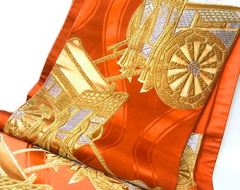 Fukuro obi, japanese kimono sash, wide obi belt, orange royal carriage kimono obi, vintage home decor, table bed runner, kimono fabric