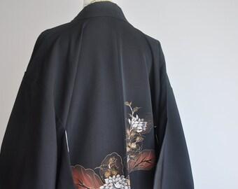 women/'s kimono top cardigan boho Japanese silk kimono jacket vintage red shibori tie dye haori coat authentic short kimono robe