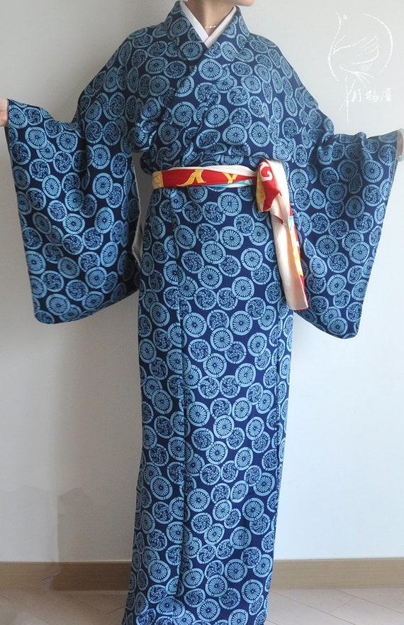 Chirimen Komon Kimono MINT authentic kimono robe blue 162cm Dark blue poly kimono flawless Japanese garden pine green red lined gown