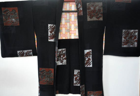 Silk black haori/japanese kimono jacket/short kim… - image 7
