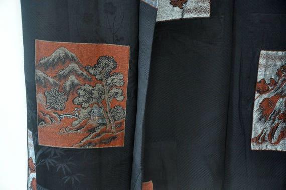 Silk black haori/japanese kimono jacket/short kim… - image 9