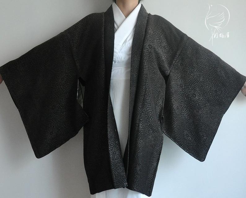 Japanese silk kimono jacket authentic kimono cardigan top vintage black floral urushi haori coat women/'s short kimono robe japan boho