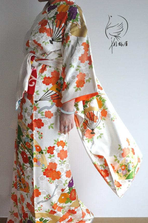 2336f5a62 Japanese silk furisode long sleeve kimono robe vintage | Etsy