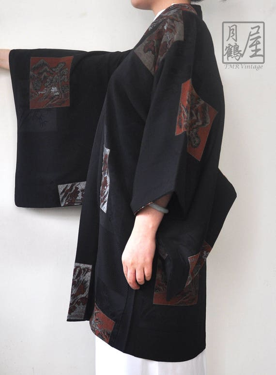 Silk black haori/japanese kimono jacket/short kim… - image 4