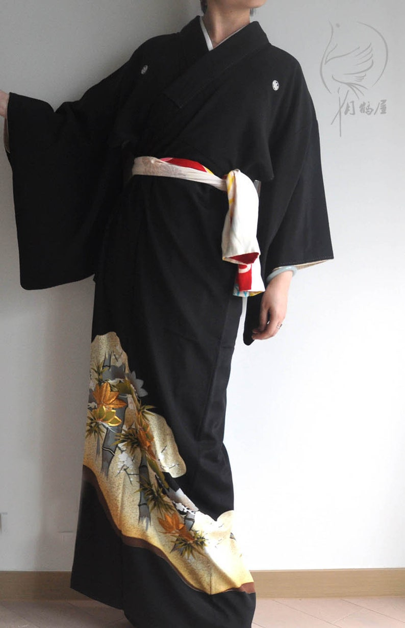 Japanese tomesode silk long kimono robe boho authentic japan clothing duster coat vintage black embroidery formal maxi kimono gown dress