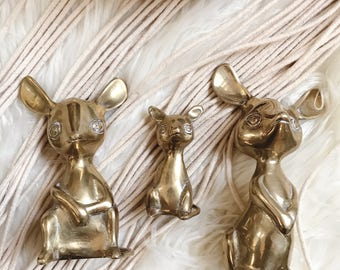 Brass mouse family / set of three brass mice
