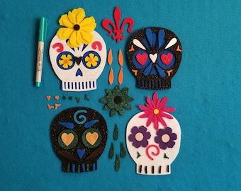 8.5 x 12 Felt Sheets Skull Felt Halloween Felt Craft Felt