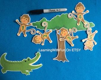 5 little monkeys | Etsy